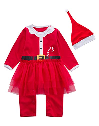2PCS Baby Girls' Santa Claus Outfit Set Long Sleeve Bodysuit with Hat (3-6 Months) -