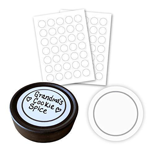 AllSpice 70 White Water Resistant Round Spice Jar Labels Set 1.5- Fits Penzeys and AllSpice Jars- Blank