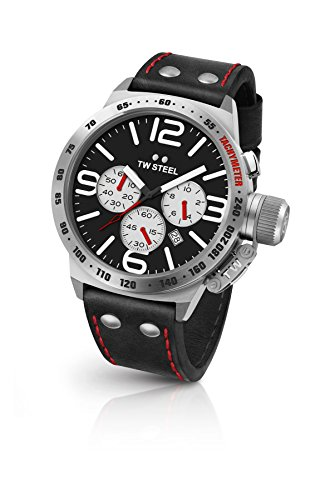 TW Steel Men's Canteen Stainless Steel Quartz Watch with Leather Calfskin Strap, Black, 22 (Model: CS7)