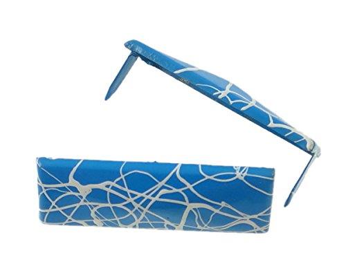 - - 20pcs Blue & White Rectangle Pyramid Studs Nailheads Space Bar Long Belt Deco S320