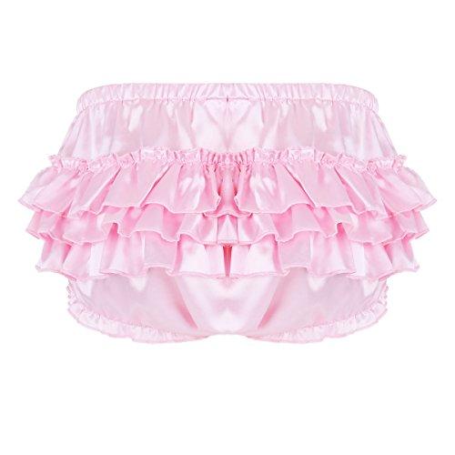 Alvivi Mens Sexy Satin Ruffled Bloomer Briefs Lingerie Sissy Tiered Skirted Underwear Panties Pink Medium (Waistline 30.0