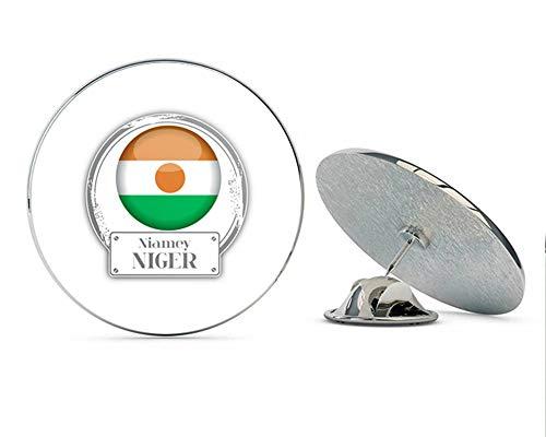 """Niger Flag Label Round Metal 0.75"""" Lapel Pin Hat Shirt Pin Tie Tack Pinback"""