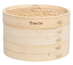 Helen's Asian Kitchen Bamboo Steamer is ideal for steam cooking foods. Made from 100-percent all-natural bamboo, it's perfect for steaming vegetables, dumplings, dim sum, steamed bao, potstickers, eggs, meat, poultry, fish, seafood, desserts,...