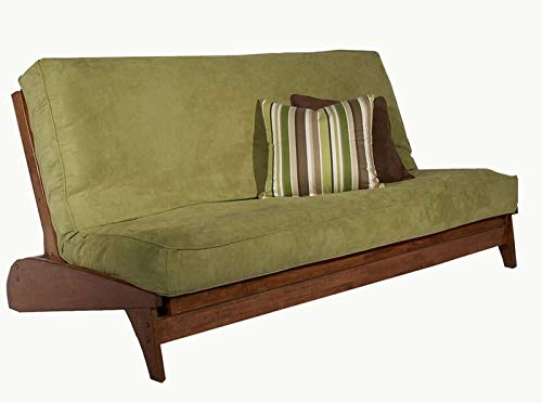 Strata Furniture Dillon Dark Cherry Queen Wall Hugger Futon Frame