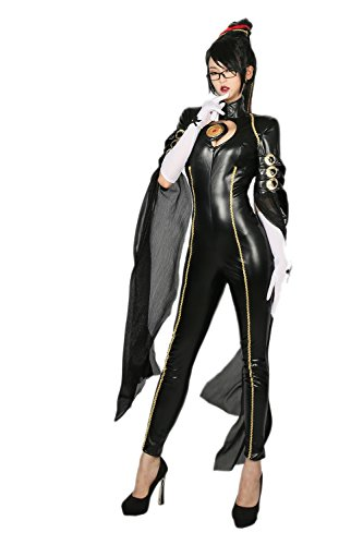 Bayonetta Costume Deluxe Black PU Jumpsuit Women Cosplay Suit S