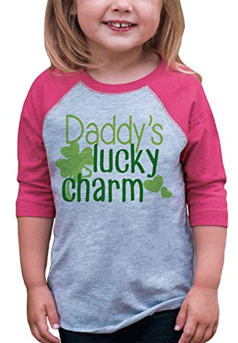 7 ate 9 Apparel Girls' St. Patrick's Day Vintage Baseball Tee 3T Months Pink and Grey -