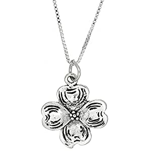 Sterling Silver Dogwood Blossom Necklace (16 Inches)