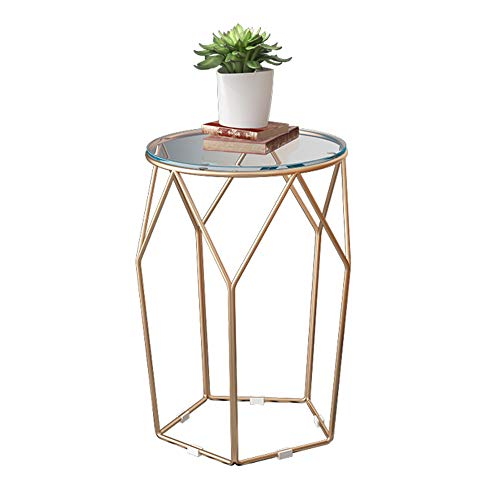 XIAOYAN End Table Nordic Wrought Iron Side Table Sofa Small Coffee Table Small Round Table with Glass Simple Mini Bedside Table Gold 4555cm Multifunction ()