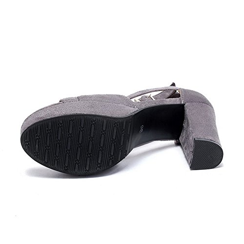 Solid Suede High Sandals Buckle Open Heels Toe Gray Women's Imitated VogueZone009 YCw4fqo