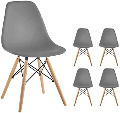 Homy Grigio Dining Chairs DSW Chairs Mid Century Modern Style Chairs Plastic Chairs Wood Assembled Leg