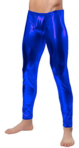 Blue Morphsuit Costume Ideas (Marvoll Men's Shiny Metallic Tights Long Pants (Large, Blue))