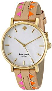 kate spade new york Women's 1YRU0503 Metro Gold-Tone Watch with Multicolor Leather Band