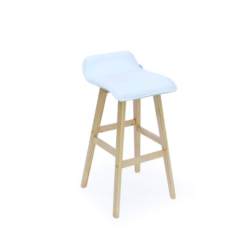 bluee-white L37.5CMW39.5CMH75CM Floor-Standing high Bracket European Bar Chair Beech Bar Stool Portable High Foot Seat Front Desk Bar Stool Simple High Foot Seat Suitable for Counter Kitchen Breakfast Chairs