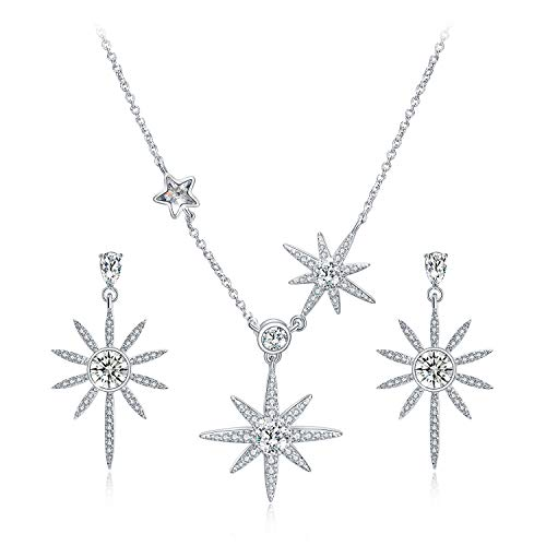 Star Earrings and Necklace Set for Women Sterling Silver, Rhinestone from Swarovski Crystal Jewelry Sets (Sterling Silver Swarovski Jewelry)