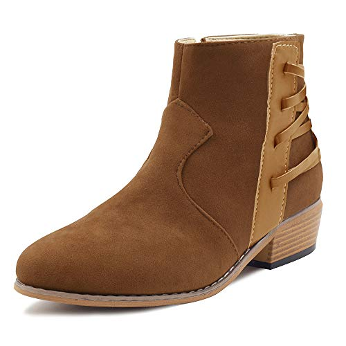 Blivener Womens Ankle Boots Fashion Pointed Toe Stacked Low Heel Side Strappy Zipper Booties