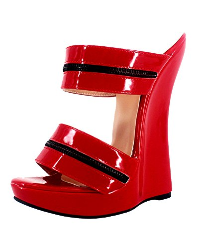 WONDERHEEL Womens Wedges Platform Sandals Red 13 US
