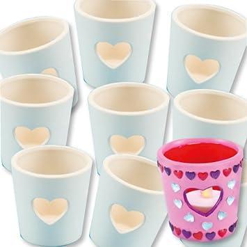 Teelichthalter Aus Keramik Herz Zum Gestalten Und Basteln Für Kinder Zum Valentinstag Und Muttertag4 Stück