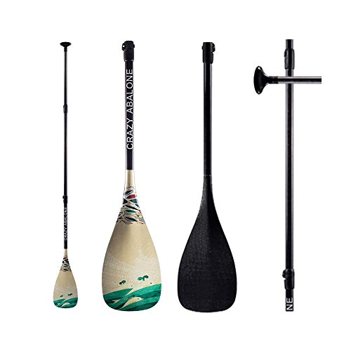 CRAZY ABALONE 3 Piece Adjustable SUP Paddle Ultralight Stand Up Paddle Creative Design Colorful Pattern 3K Full Carbon Fiber SUP Paddle