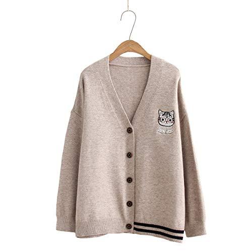 レディース Vカーディガン ニット ゆったり 体型カバー セーター アウター 刺繍 猫柄 長袖 シンプル 可愛い 通勤通学