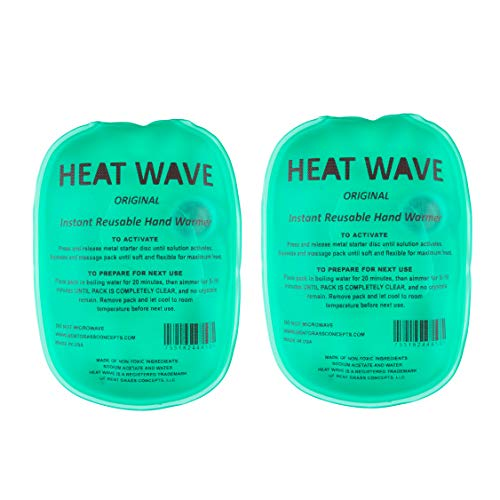 Instant Reusable Heat Packs, HEAT WAVE Instant Reusable Hand Warmers 2-Pack, for Camping, Hiking, and Pain Relief (3