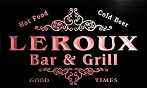 u26203-r LEROUX Family Name Bar & Grill Home Beer Food Neon Sign