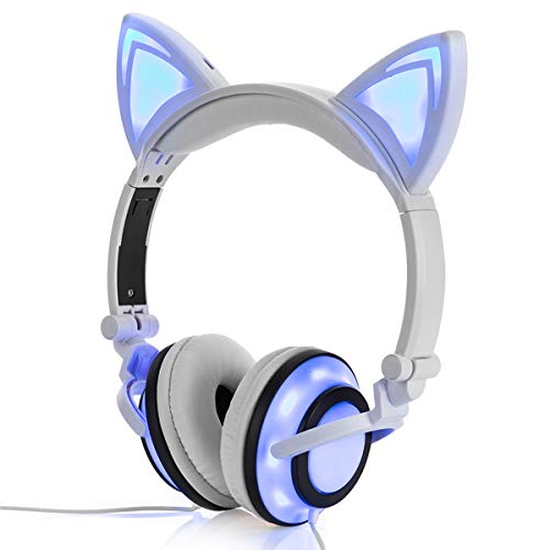 Kids Headphones, Chargeable LED Glowing Cat Ears Headphones with Safe Kids Friendly 85dB Volume Limited,Wired Foldable Adjustable Earphones for Children/Teens/Boys/Girls(Cat Ear-White)
