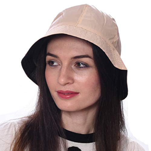 Debra Weitzner Rain Hat 2-in-1 Reversible Cloche Rain Bucket Hats Packable (Medium/Large, Beige-Style A) ()