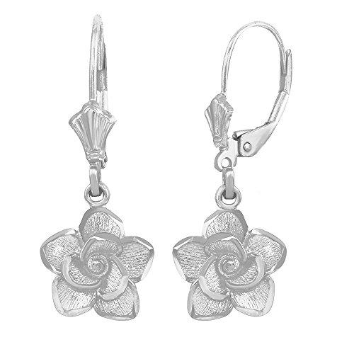 Beautiful 14k White Gold Rose Flower Leverback Earrings 14k White Gold Leverback Earrings