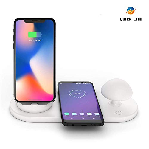 Quick Life 3-in-1 Fast Wireless Charger Desk with Lamp LED/Mushroom Night Light/Phone Holder Wireless Charging Pad for iPhone/Micro/Type-C for QI Devices