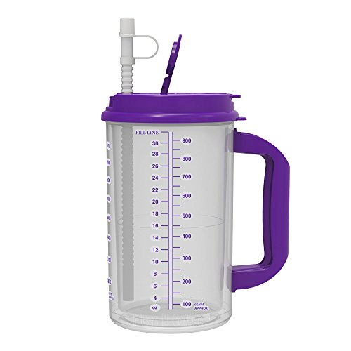 Large Plastic Mug - 32 oz Double Wall Insulated Hospital Mug - Cold Drink Mug - Large Carry Handle - Includes Straw (1, Purple)