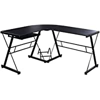 Tangkula L-Shape Computer Desk PC Wood Laptop Table Workstation Corner Home Office Black