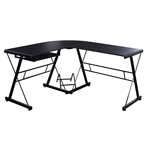 Black Computer Laptop Desk L Shaped Home Office Workstation Pc Table Durable