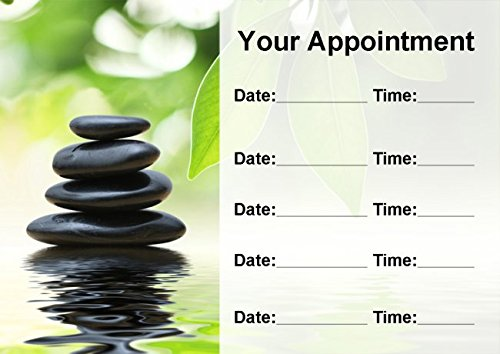 Beauty Salon Spa Treatment Massage Black Stones Personalized Appointment Cards