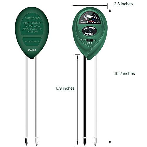 Sonkir Soil pH Meter, MS01 3-in-1 Soil Moisture/Light/pH Tester Gardening Tool Kits for Plant Care, Great for Garden, Lawn, Farm, Indoor & Outdoor Use (Green)