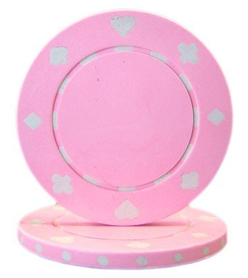 Brybelly Suited Poker Chips (50-Piece), Pink, 11.5gm
