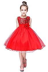 Girls Sleeveless Sequin Party Dress