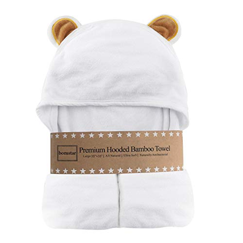 Organic Bamboo Hooded Baby Towel,Baby Towel with Hood for Boy and Girl,Ultra Soft and Super Absorbent Toddler