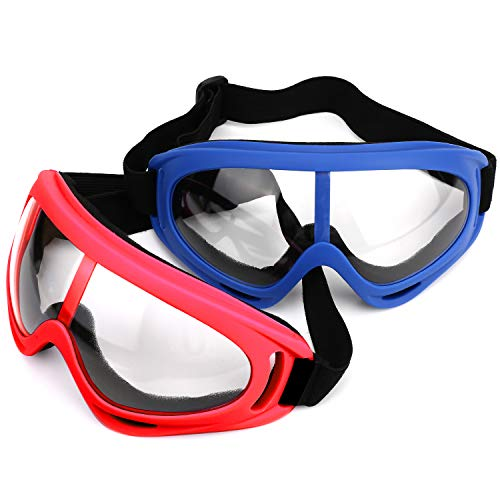 LJDJ Safety Goggles - Pack of 2 - Glasses Adjustable Outdoor Sports Dust-Proof Protection Eyewear Perfect for Foam Game Gun and Blaster (Red + Blue)