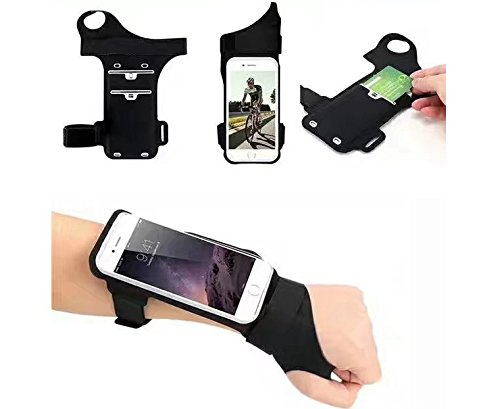 Workout Cycling Biking Jogging Running Sports GYM Lycra Thumb Armband Card Holder Pouch Case For Motorola Moto G5s Plus / E4 Plus / Z2 Play / HTC U11+ / OnePlus 5T / Google Pixel 2 XL (Black) by ebuymore (Image #5)