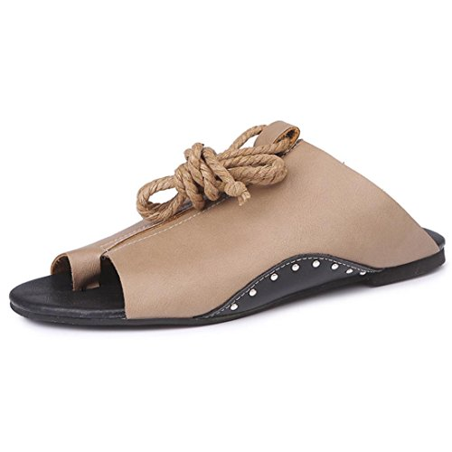 Momola Women's Flat-bottomed Roman Gladiator Sandals 2018 New Open Toe Ankle Straps Lace-up Flats Platform Shoes Khaki 1TkOB