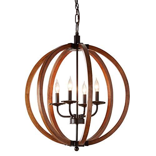 Round Wood Pendant Light in US - 4