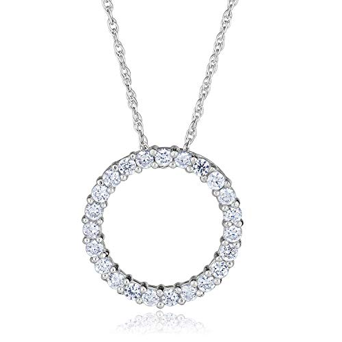 14K White Gold Simulated Diamond CZ Open Circle Pendant Necklace with 18
