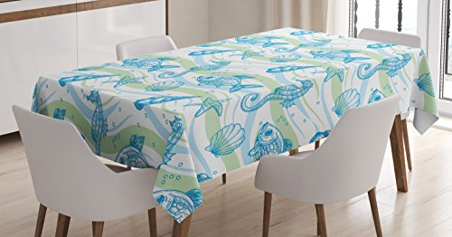 Ambesonne Nautical Tablecloth, Marine Ocean Shell Starfish Oyster Mollusk Sea Horse Underwater Aquatic Pattern, Dining Room Kitchen Rectangular Table Cover, 52