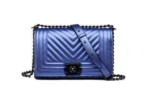 Pelle For Women V quilted Bag Flap Handbags Blu In Fashion Crossbody Catena wdvqIXX
