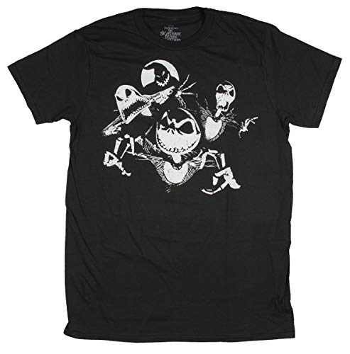 Real Deal Sales LLC The Nightmare Before Christmas Halloweentown Favorite Characters Design Men's T-Shirt (Large) Black -