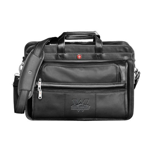 Western Wenger Swiss Army Leather Black Double Compartment Attache 'Interlocking W Mountaineers - Official Logo Deboss' by CollegeFanGear