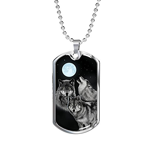 (Express Your Love Gifts Bark at The Moon Awesome Wolf Stainless Steel Silver Tone Military Dog Tag Necklace w 24