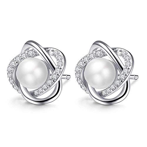 IminiJewelry Knot Love Heart Sterling Silver Cubic Zirconia Pearl Studs Earrings for Women Girls Sensitive Ears Cubic Zirconia Post Nice Gifts for Christmas