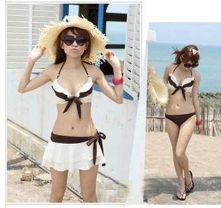 胸元フリル レディース 水着 ビキニ ミニスカート付 3点セット 白茶色 セパレート 水着 (
