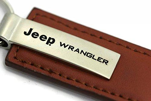 Au-Tomotive Gold, INC. Jeep Wrangler Leather Key Chain Brown Rectangular Key Ring Fob Lanyard